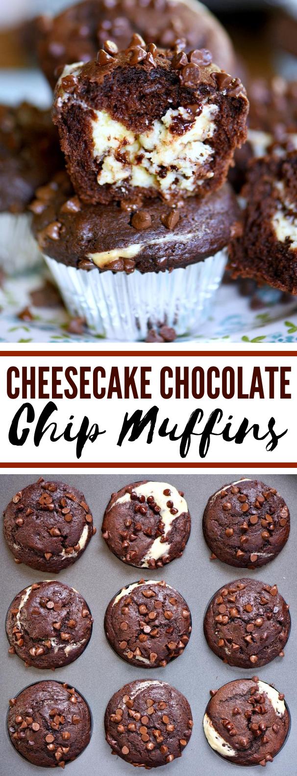 Cheesecake Chocolate Chip Muffins #desserts #breakfast #chocolate #cupcake #cake