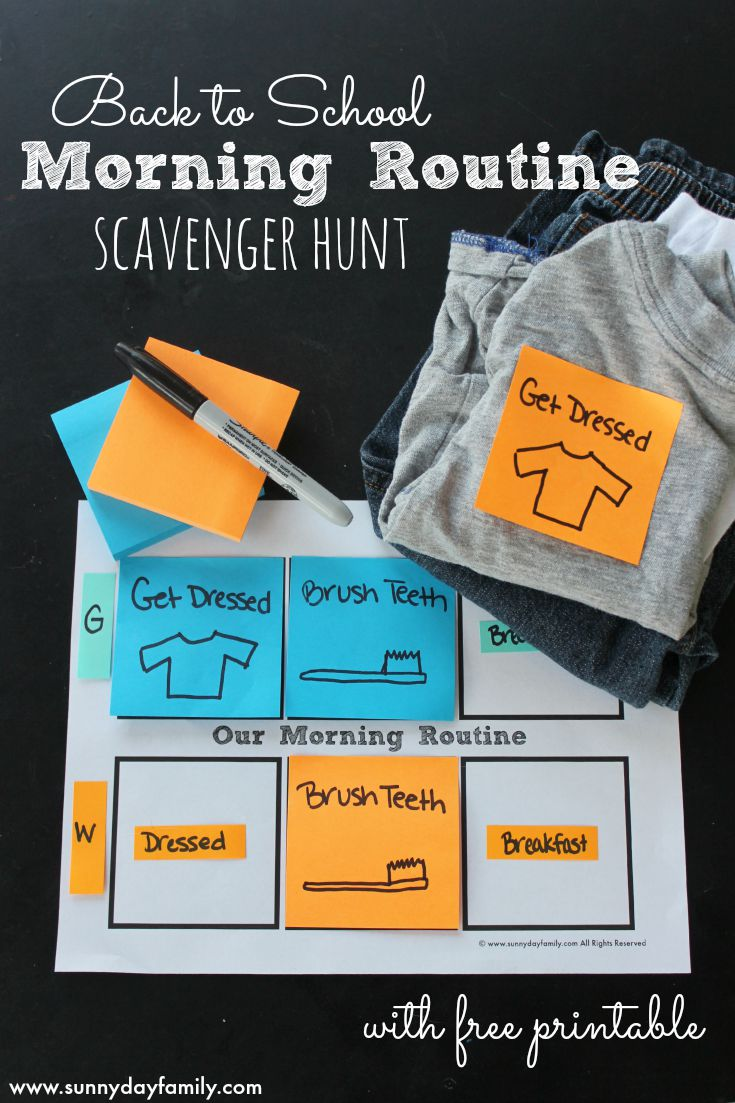 Create a fun morning routine scavenger hunt with Post-it® products to help kids get organized and ready for back to school! Includes a free back to school morning routine printable.
