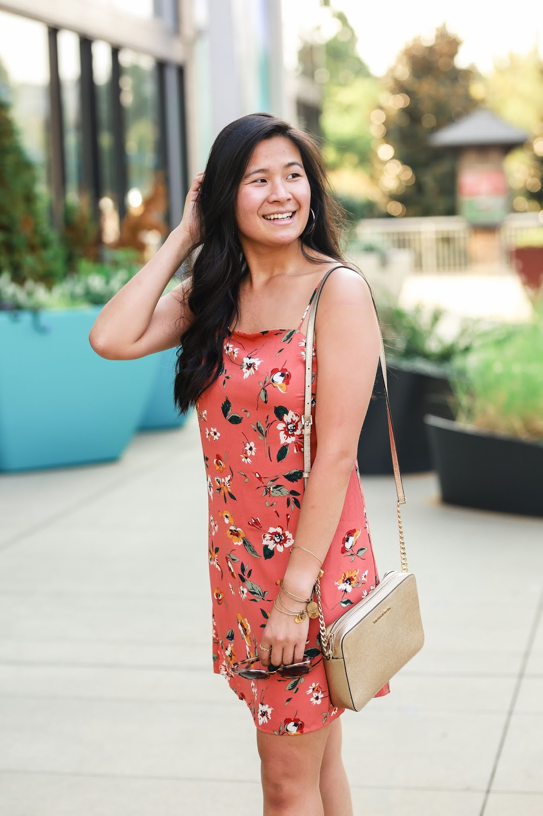 How to transition your summer dress to fall | Orange floral dress | Affordable outfit idea