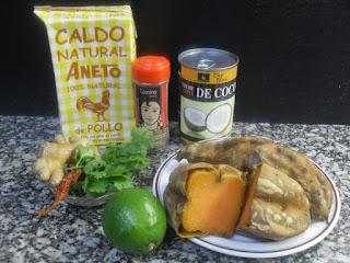 Ingredientes para la crema de boniato, coco y jengibre.