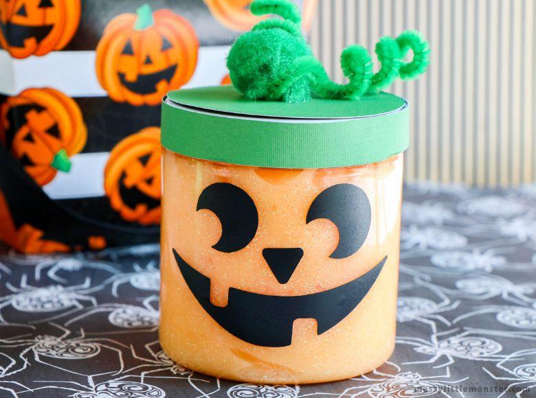 pumpkin glow in the dark slime recipe - sensory play recipes for kids