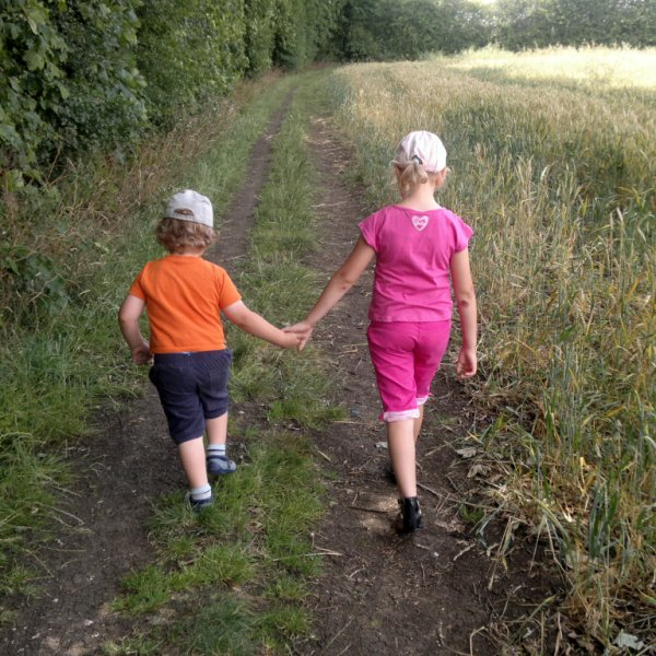 Top Ender and Big Boy holding hands walking home from our Fun Family Picnic in the Summer Holidays