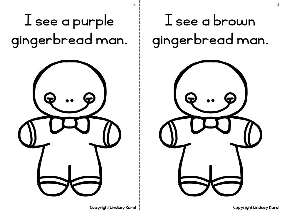 students can work on syntax with the repetitive sentences request various crayons to color the gingerbread men etc