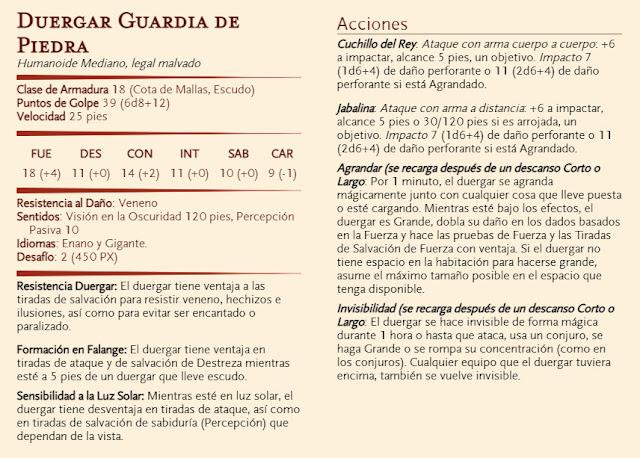 Aventura D&D - El Diezmo - Duergar Guardia de Piedra