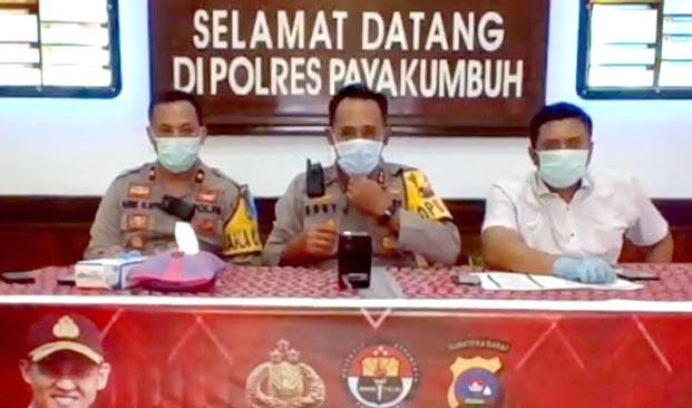 Konferensi pers Polres Payakumbuh dengan awak media.