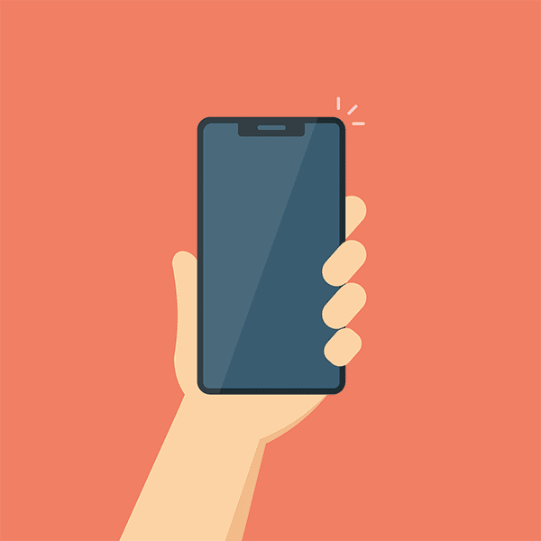 holding mobile phone illustration