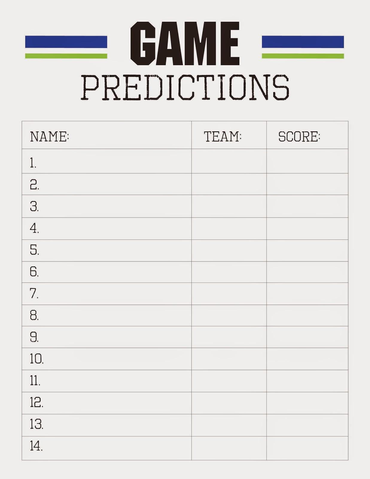 Bowl Game Predictions >> Freebies: Super Bowl Party Printables - Designs by TiffanyCo
