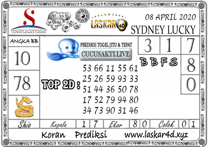 Prediksi Sydney Lucky Today LASKAR4D 08 APRIL 2020