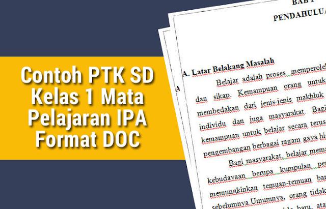 Contoh PTK SD Kelas 1 Mata Pelajaran IPA Format DOC