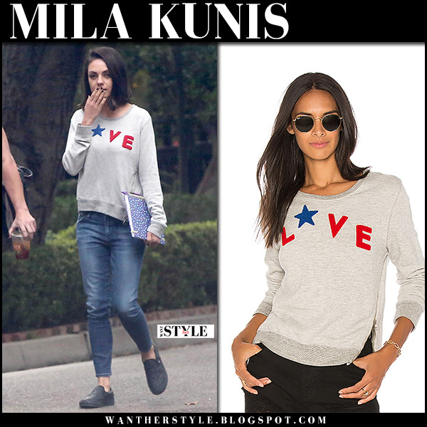 Mila Kunis in grey Love print sweatshirt sundry casual style november 10 2017
