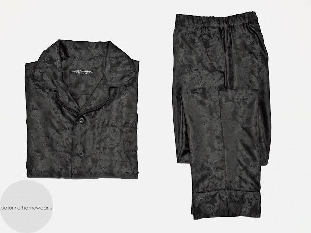 mens black paisley silk pajamas