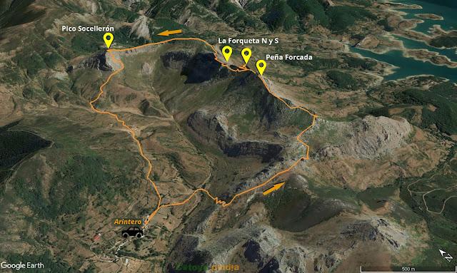 Mapa 3D de la ruta a la Cresta de Arintero pasando por Peña Forcada, la Forqueta norte y sur y el Pico Socellerón.