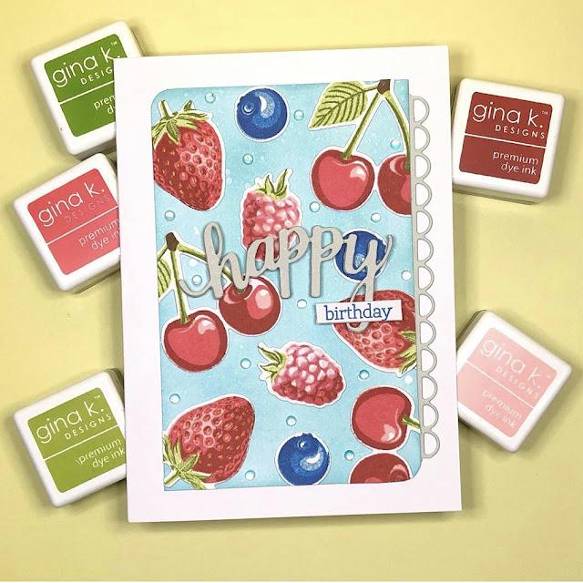 Sunny Studio Stamps: Berry Bliss Customer Card by Marina Kosorukova