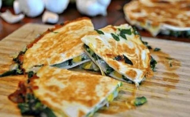 Baked Spinach Mushroom Quesadillas #healthy #lunch