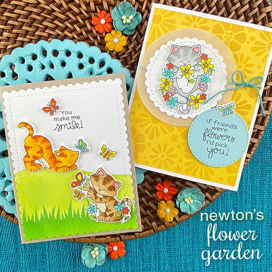 Cats with Flowers and butterflies Cards by Jennifer Jackson | Newton's Flower Garden Stamp Set, Bold Blooms Stencil, Hills & Grass Stencil, and Frames & Flags Die Set by Newton's Nook Designs #newtonsnook #handmade