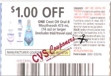 """$1.00/1-Crest or Oral-B Mouthwash 16 oz or larger Coupon from """"P&G"""" insert week of 8/30/20."""