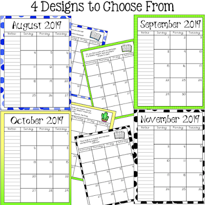 monthly calendar options for student planner Terri's Teaching Treasures