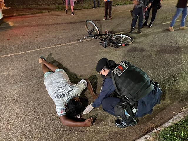 Ciclista é atropelado na Avenida Rio Madeira e motoqueiro foge sem prestar socorro