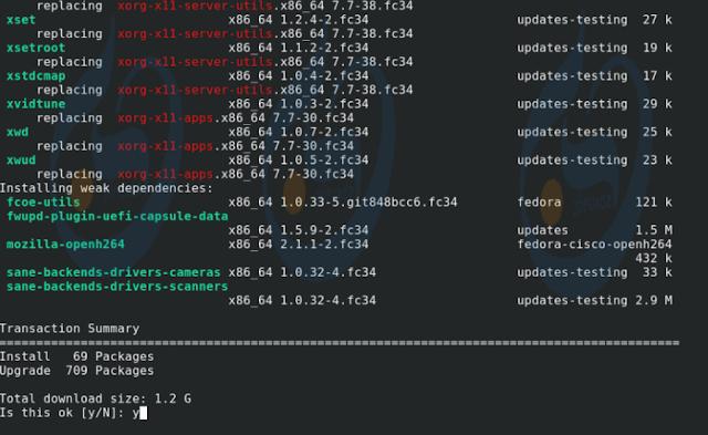 تحديث Fedora 34