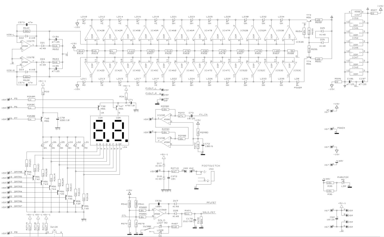 Behringer X2222FX vu-meters schematics