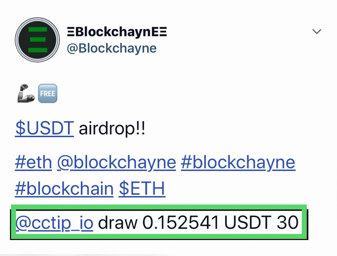 Example of an incentivized tweet using CCTip