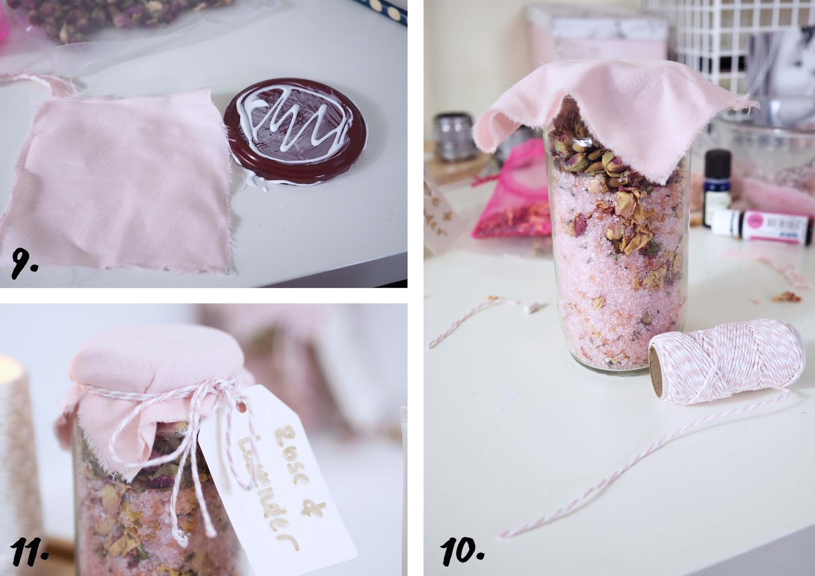 bathroom bath salts with rose and lavender gift package
