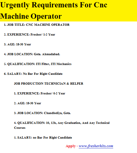 Urgently Requirements For Cnc Machine Operator
