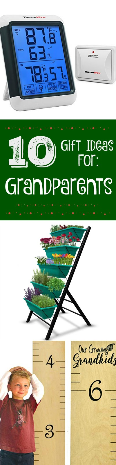 10 Holiday Gift Ideas for Grandparents...all your holiday shopping for this generation done in one post!  From garden materials and sentimental items to techy devices to help them around the home.  Great holiday gift guide for Grandparents! (sweetandsavoryfood.com)