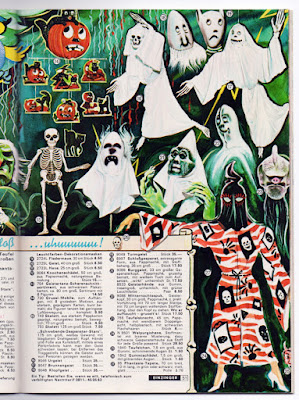 What is the true vintage age of collectible Halloween German diecuts? This catalog (center top) dates a set of 9 to 1965.