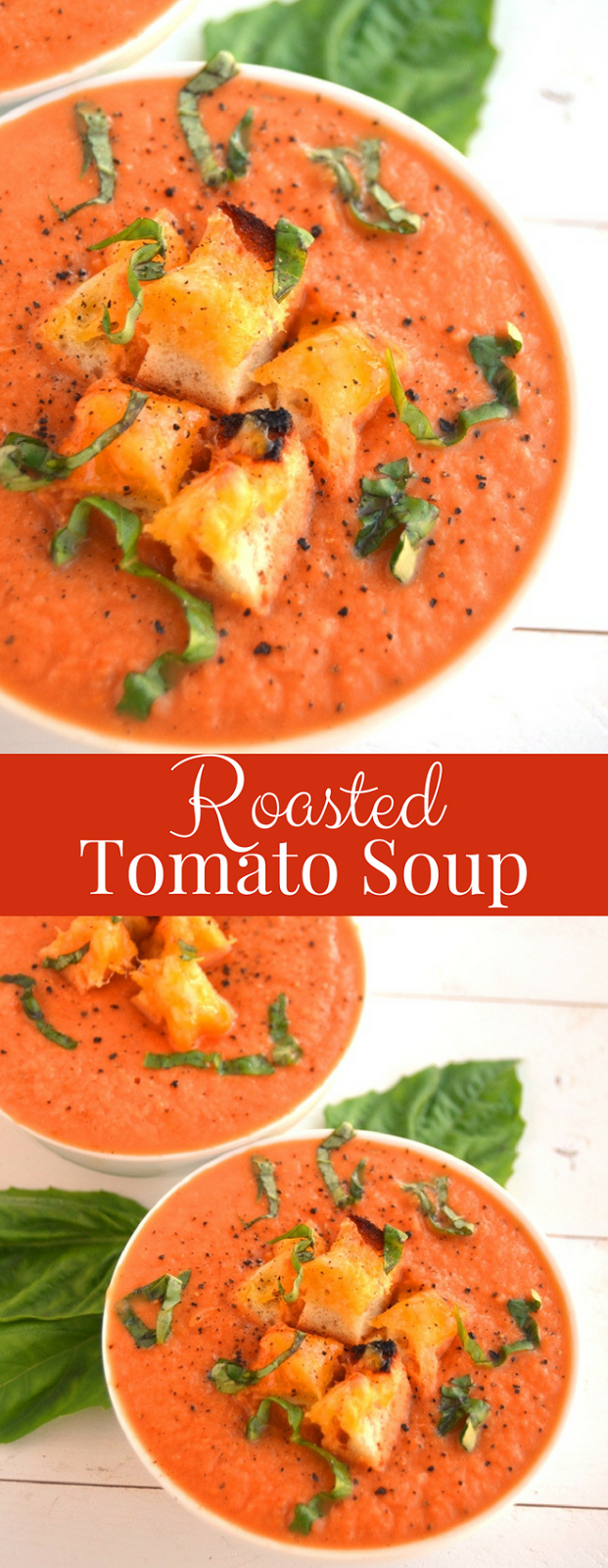 Roasted Tomato Soup is just 5 ingredients, creamy despite having no dairy and is loaded with flavorful roasted tomatoes, onions, garlic, basil and grilled cheese croutons! www.nutritionistreviews.com