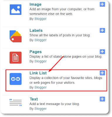 Select Link List Widget