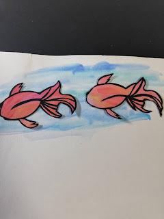 黒紙×アクリル絵の具で塗った紙の切り絵(淡い背景)
