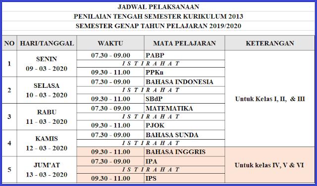 Jadwal Penilaian Tengah Semester Genap SD/MI KURIKULUM 2013 Tahun Pelajaran 2019/2020