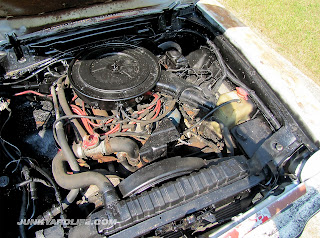 Engine bay packed with a V8 in the 1977 Mustang II Cobra II