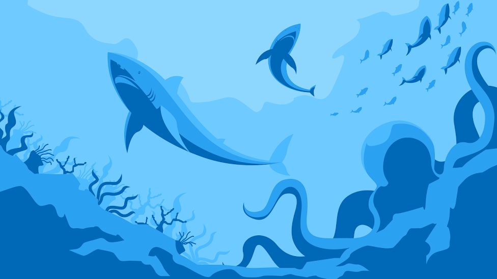 sharks, octopus and fishes in the deep ocean in a 8k desktop wallpaper blue