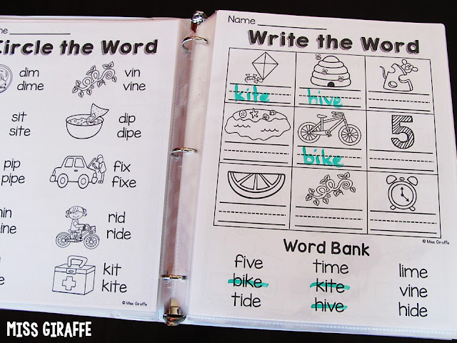 Long i worksheets in a binder for easy write and wipe practice!