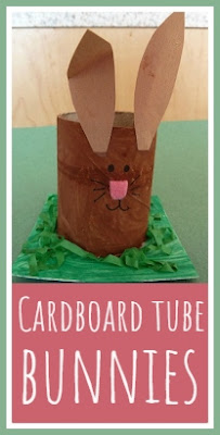 Cardboard tube Easter bunny craft to hold an Easter egg gift