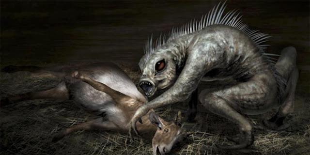 Ilustrasi dari Chupacabra yang memakan ternak