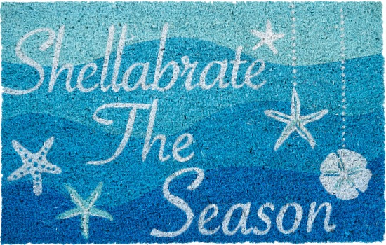 Blue Beach Theme Christmas Mat