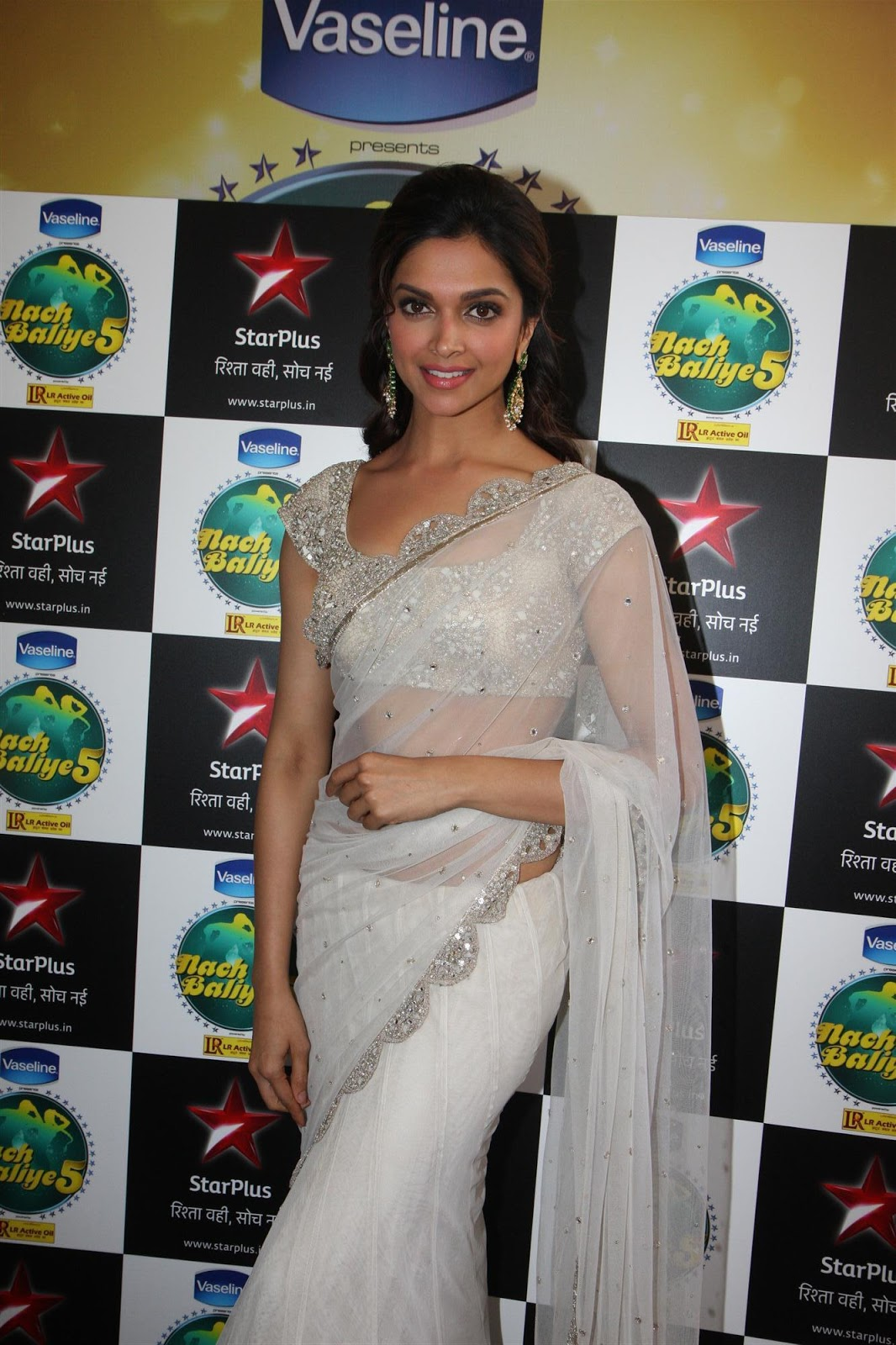 Bollywood Actress Deepika Padukone Hip Navel Hot Photos In White Saree