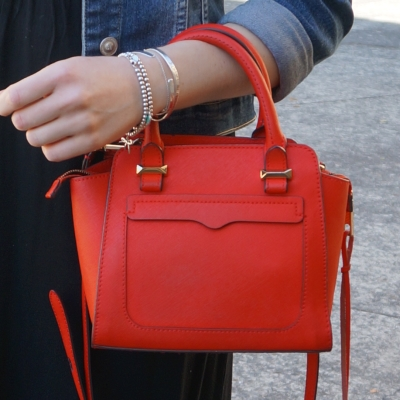 handheld Rebecca Minkoff red micro Avery cross body bag | awayfromtheblue