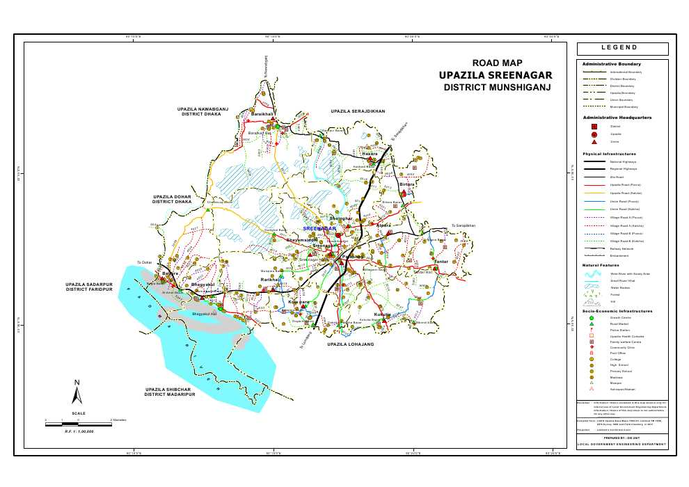 Sreenagar Upazila Road Map Munshiganj District Bangladesh