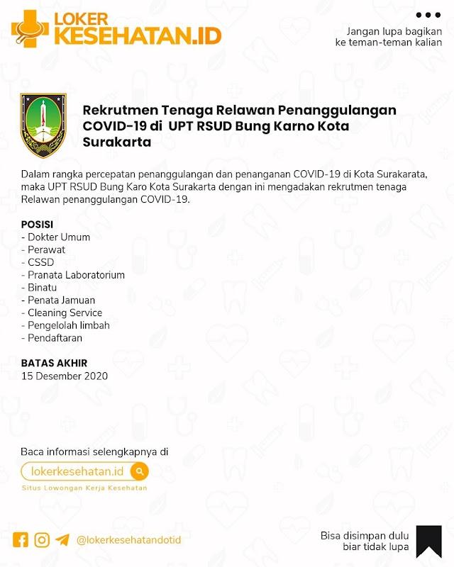 Rekrutmen Tenaga Relawan Penanggulangan COVID-19 di UPT RSUD Bung Karno Kota Surakarta.