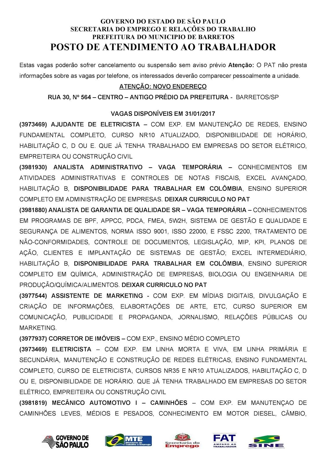 VAGAS DE EMPREGO DO PAT BARRETOS-SP PARA 31/01/2017 TERÇA-FEIRA - PAG. 1