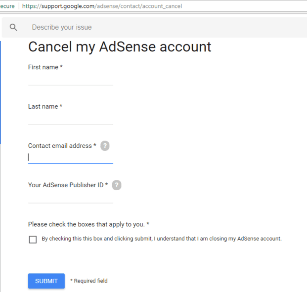 Fill AdSense cancel form