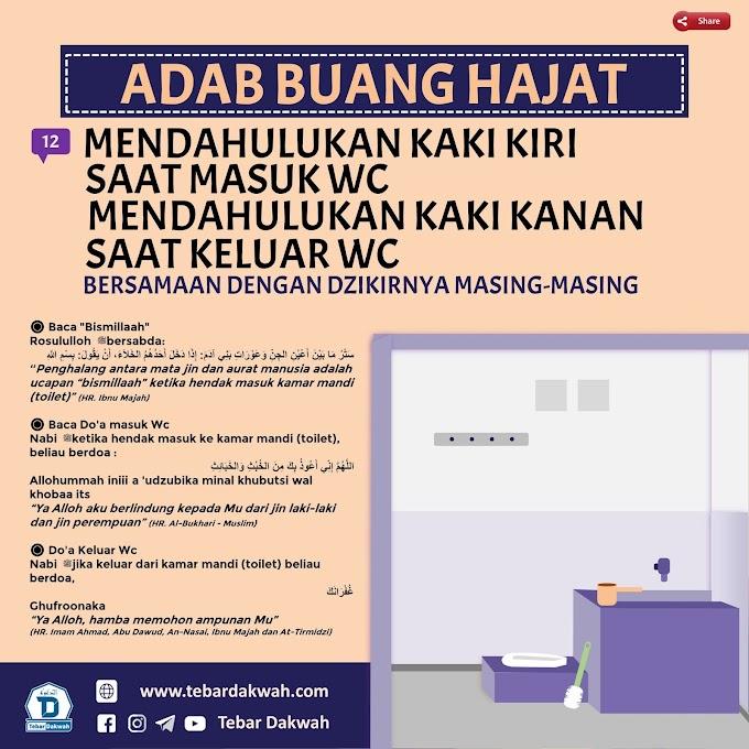12. MENDAHULUKAN KAKI KIRI SAAT MASUK WC, MENDAHULUKAN KAKI KANAN SAAT KELUAR BERSAMAAN DENGAN DZIKIRDZIKIRNYA MASING-MASING