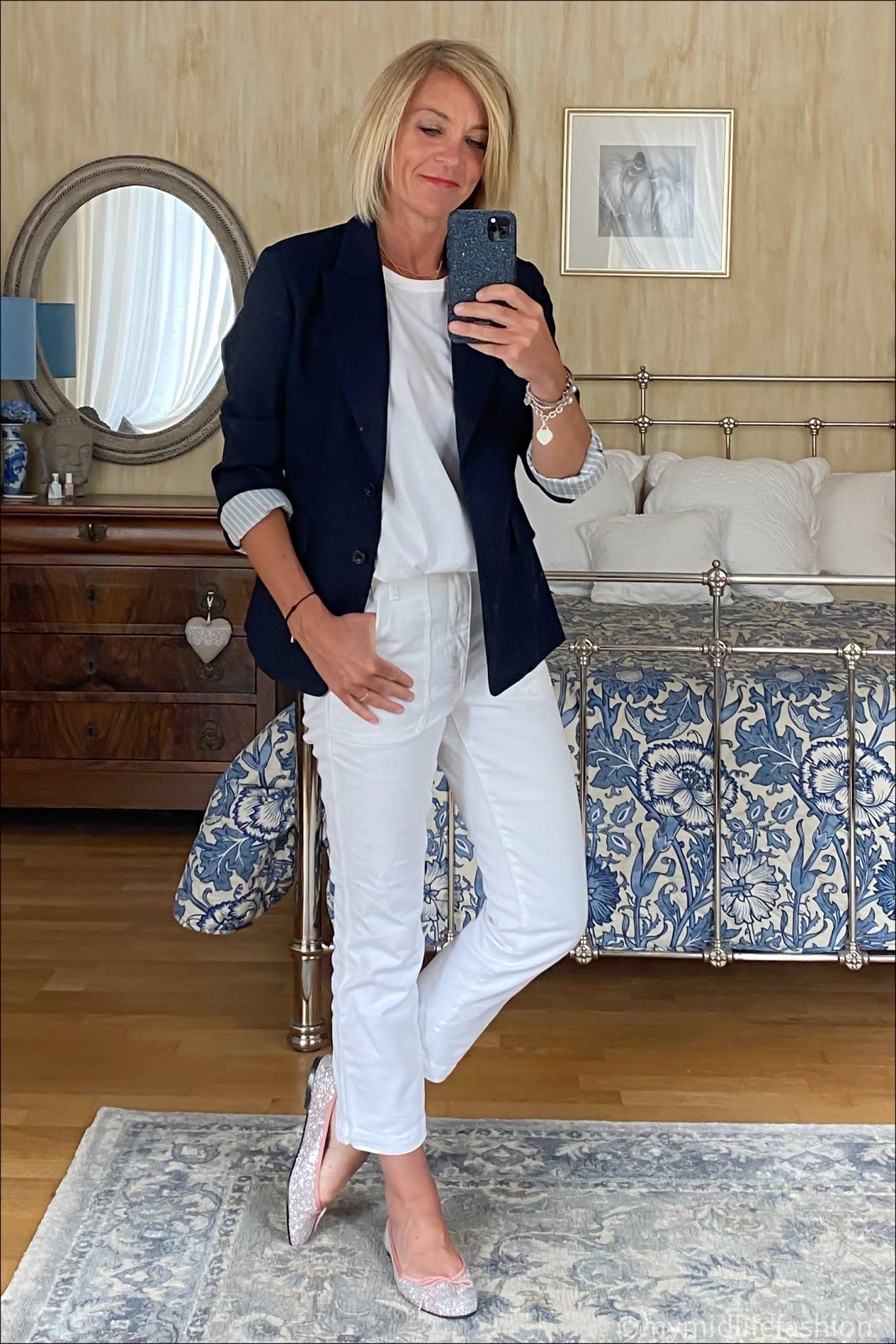 my midlife fashion, Uniqlo blazer, Joseph crew neck t-shirt, j crew cropped straight legged jeans, French sole Henrietta glitter ballet pumps