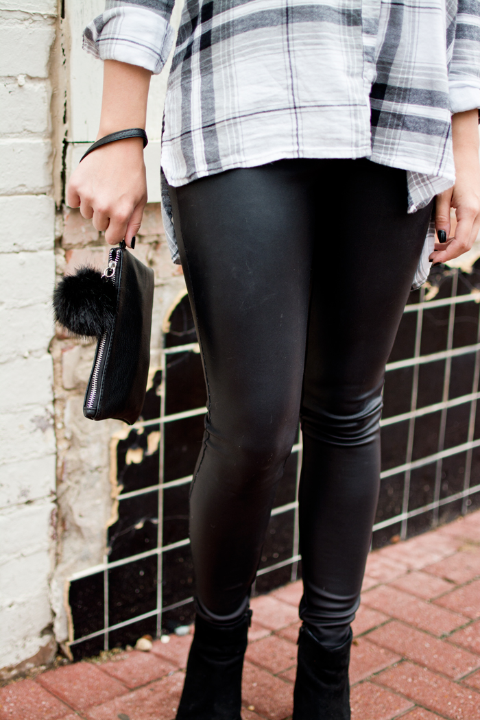 outfit details, autumn outfit, fall fashion, black pom pom clutch, leather leggings, suede booties