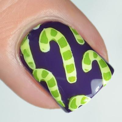 green candy cane nail art