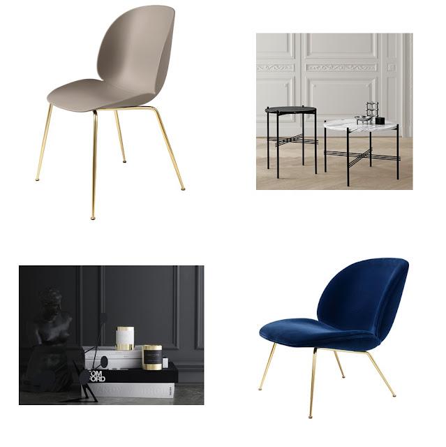 Gubi Beetle chair, Gubi TS sohvapöytä, Skultuna